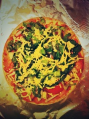 my efforts at homemade gluten-free dairy-free veggie pizza!