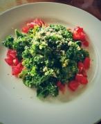 organic kale, quinoa, almond, vegan caesar salad