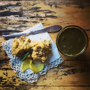 scones with green smoothie